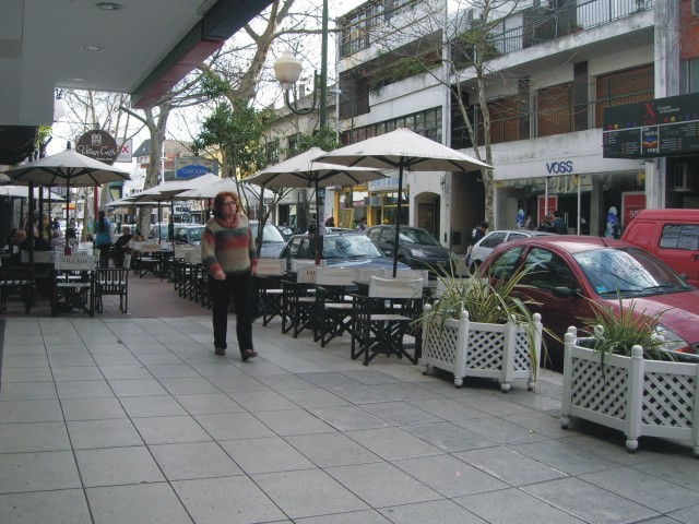 Canteros móviles y mobiliario en calle brindan escala a la calle y separan de la calzada vehicular